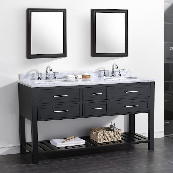 Ove Decors Sarasota 60 In Espresso Double Sink Bathroom Vanity With Carrera Natural Marble Top In The Bathroom Vanities With Tops Department At Lowes Com