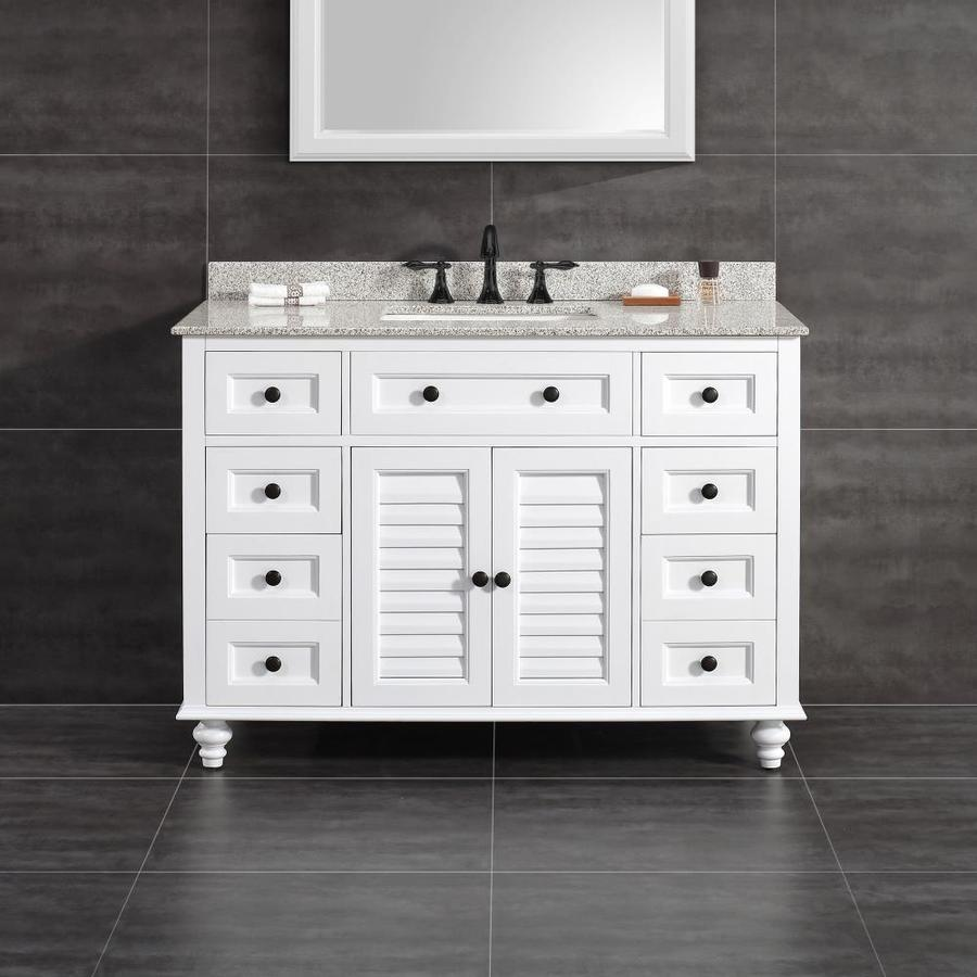 OVE Decors Heather White (Common: 48-in x 22-in) Undermount Single Sink Birch Bathroom Vanity with Granite Top (Actual: 48-in x 22-in)