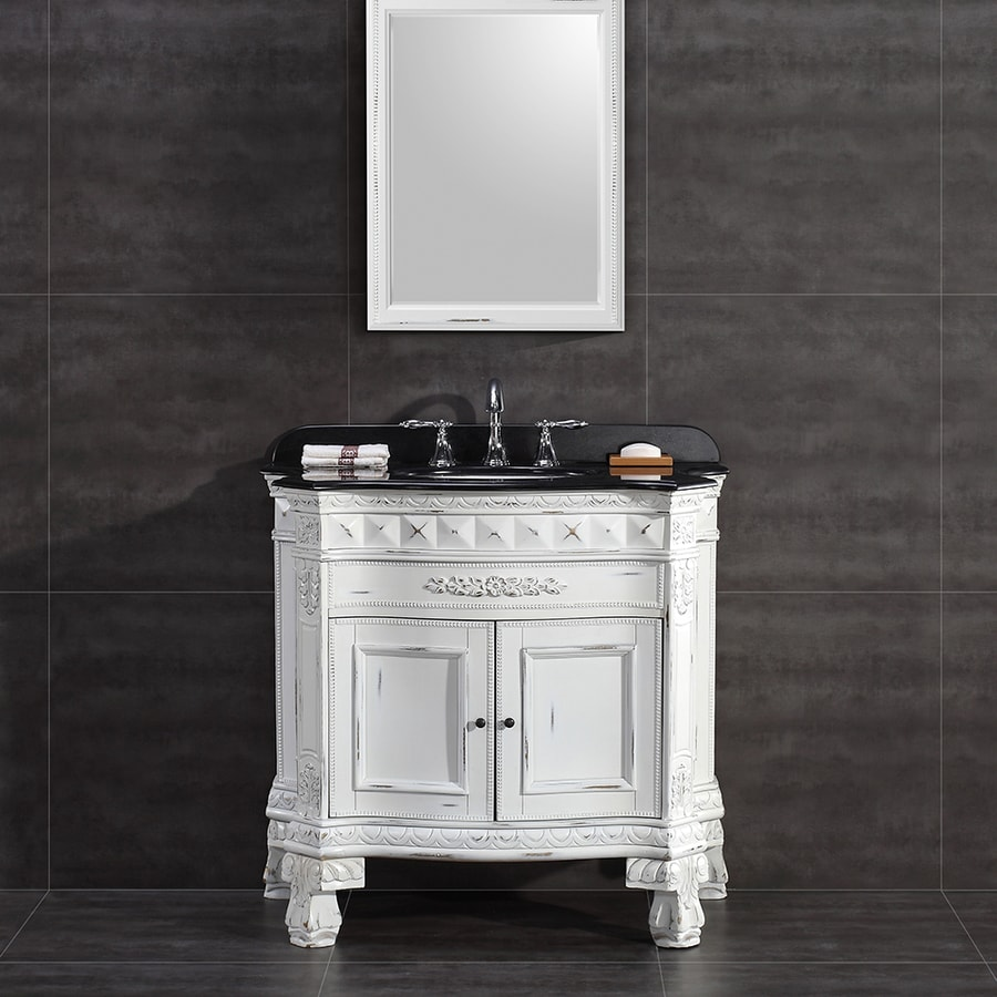 OVE Decors York Antique White 36-in Undermount Single Sink Birch Bathroom Vanity with Granite Top