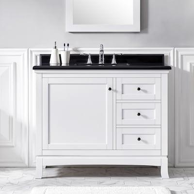 Sophia 42-in White Single Sink Bathroom Vanity with Black Granite Top