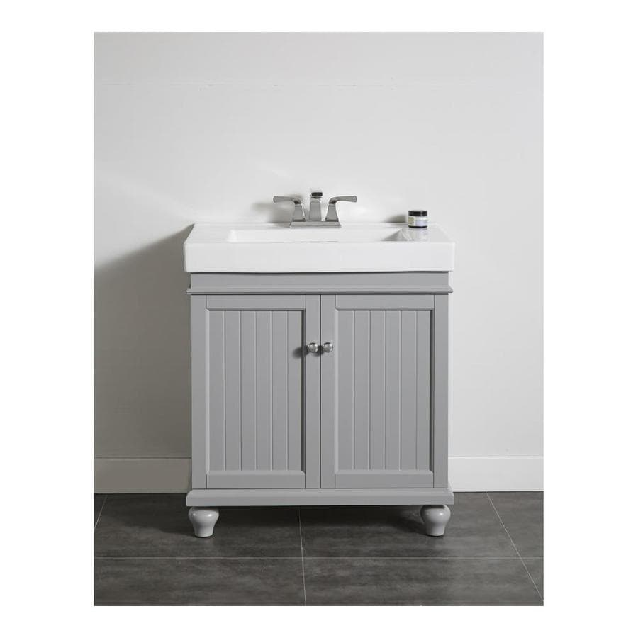 Shop OVE Decors Amber 30.3-in Light Grey Integral Single Sink Bathroom Vanity with Ceramic Top ...