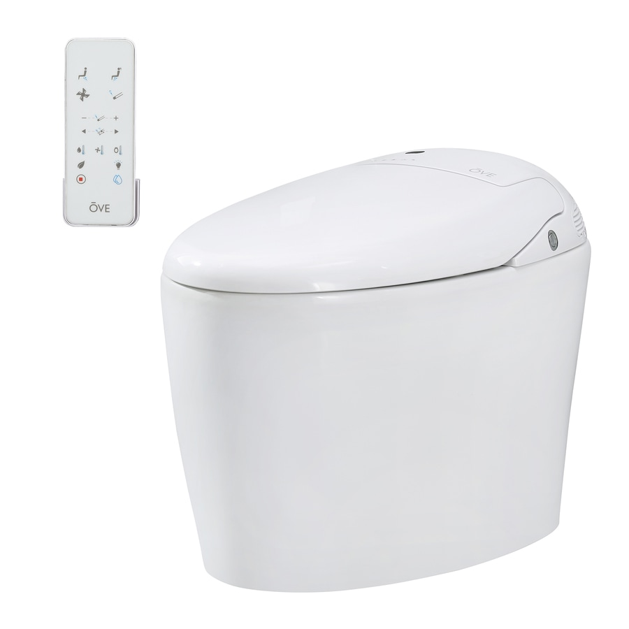 OVE Decors Tuva 1.6-GPF (6.06-LPF) Gloss white Touchless Elongated 1-piece Toilet