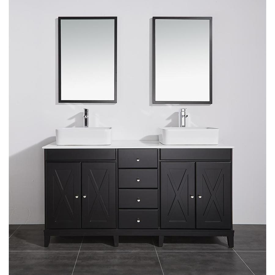 Ove Decors Aspen 60 In Dark Espresso Double Sink Bathroom Vanity With White Cultured Marble Top
