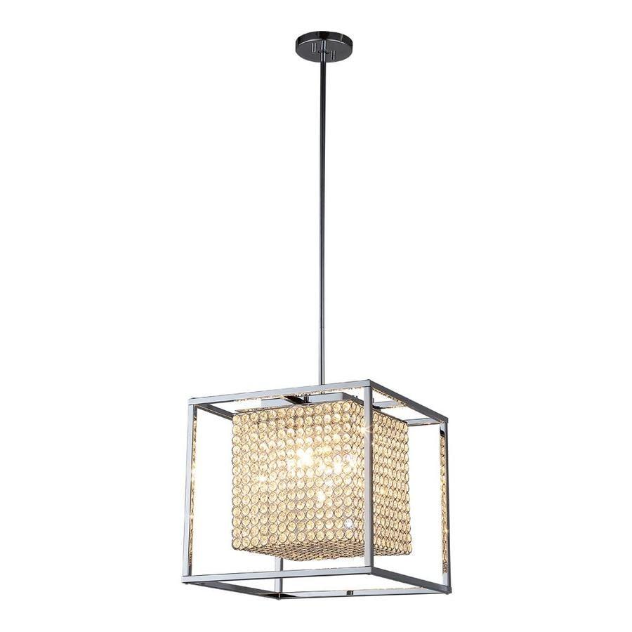 OVE Decors Portofino 15.35-in Chrome Hardwired or Plug-in Multi-Light Square Pendant