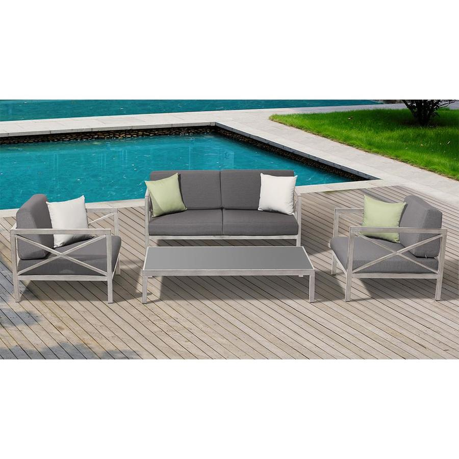 OVE Decors Pasadena 4-Piece Aluminum Patio Conversation Set