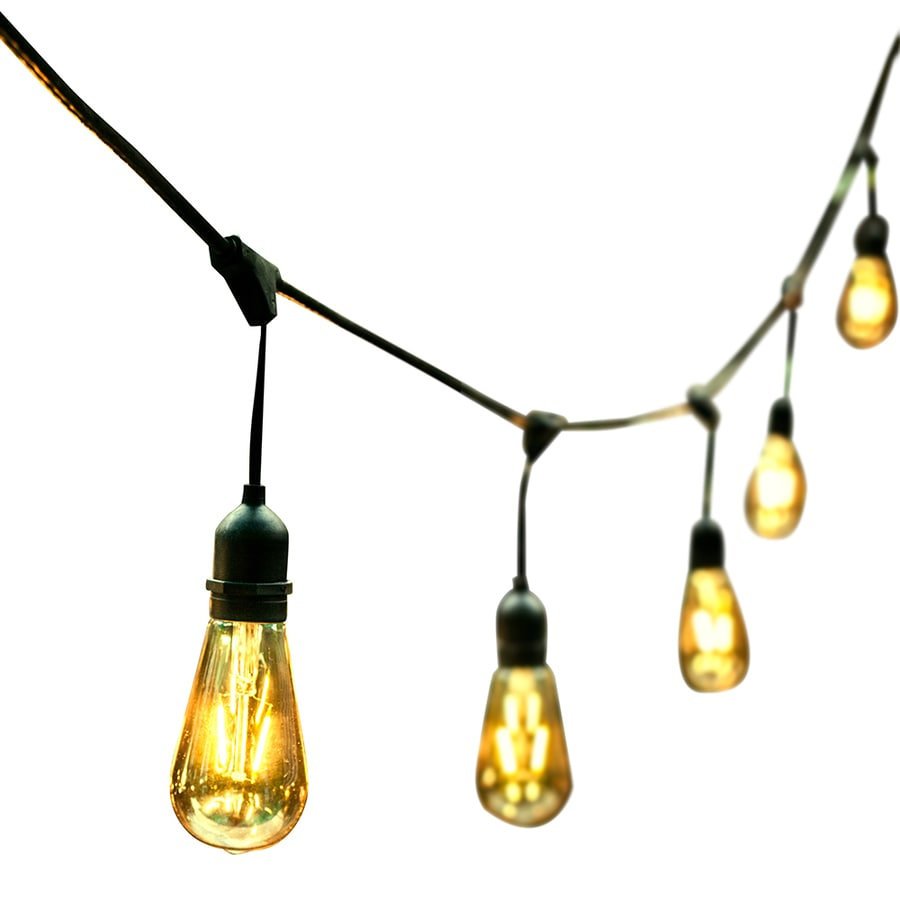 ft 24 light yellow clear glass shade led plug in bulbs string lights. Black Bedroom Furniture Sets. Home Design Ideas