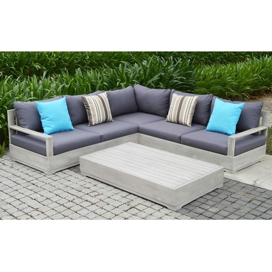 OVE Decors Beranda 3-Piece Eucalyptus Patio Conversation Set