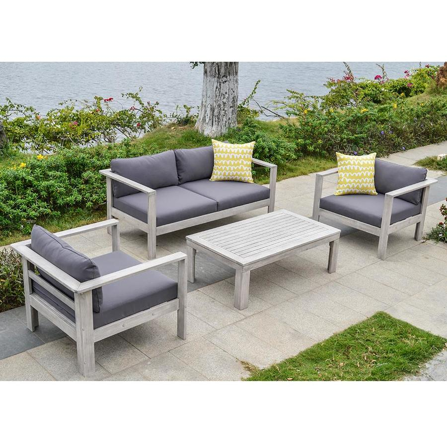OVE Decors Gueliz 4-Piece Acacia Patio Conversation Set