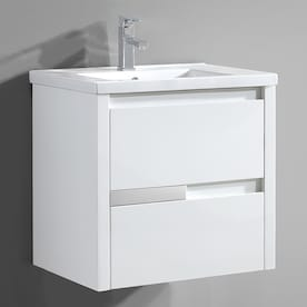 Ove Decors Lelio 59 In Gloss White Undermount Double Sink Bathroom Vanity With White Cultured Marble Top In The Bathroom Vanities With Tops Department At Lowes Com