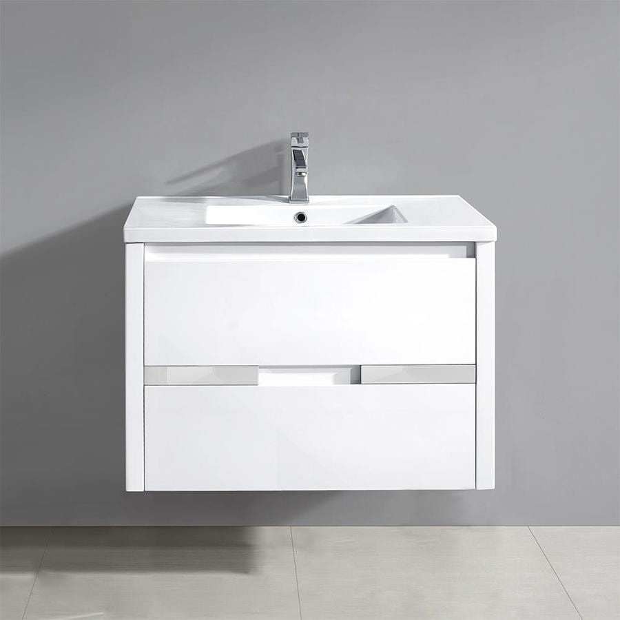 OVE Decors Chiara Gloss White (Common: 32-in x 19-in) Integral Single Sink Bathroom Vanity with Solid Surface Top (Actual: 32.3-in x 19.1-in)