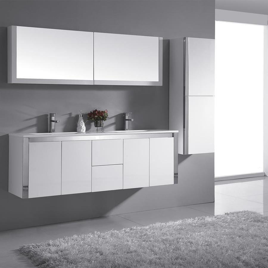 OVE Decors Lelio Gloss White Integrated Double Sink Bathroom Vanity with Solid Surface Top (Common: 60-in x 18-in; Actual: 59.1-in x 18.1-in)