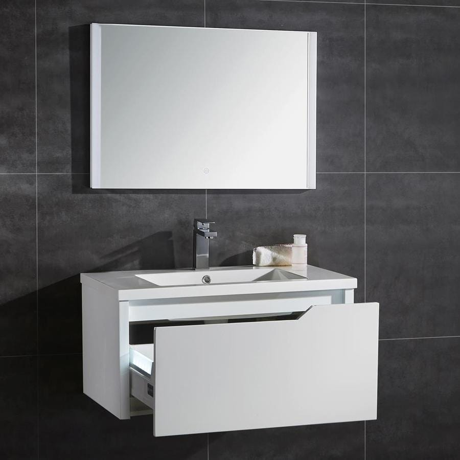 Shop Ove Decors Pavo Matte White Integral Single Sink Bathroom Vanity With Solid Surface Top