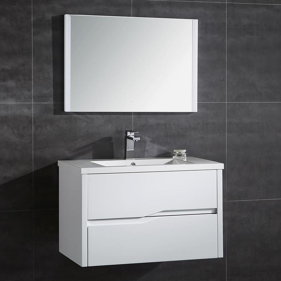 OVE Decors Vela Matte White Integrated Single Sink Bathroom Vanity with Solid Surface Top (Common: 32-in x 20-in; Actual: 31.7-in x 19.37-in)