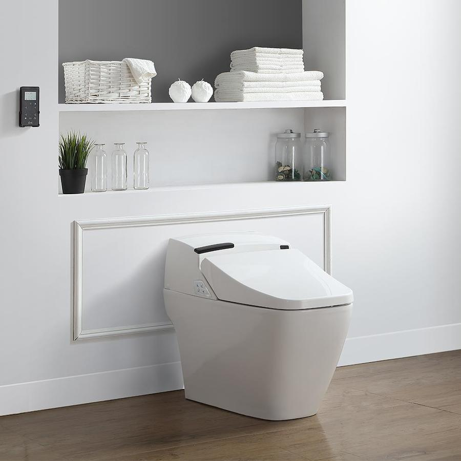 OVE Decors Bernard White Touchless Elongated Standard Height Bidet Function 2-piece Toilet 12-in Rough-In Size