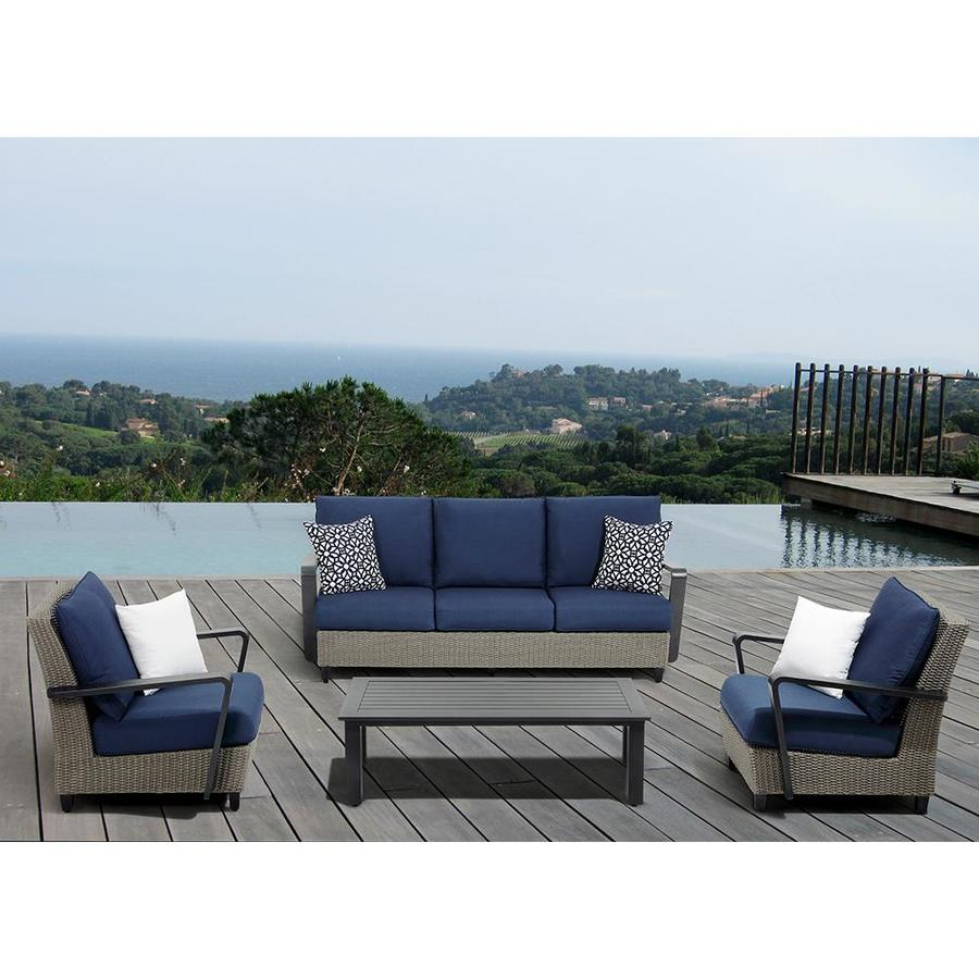 Ove Decors Augusta 4 Piece Aluminum Frame Patio Conversation Set