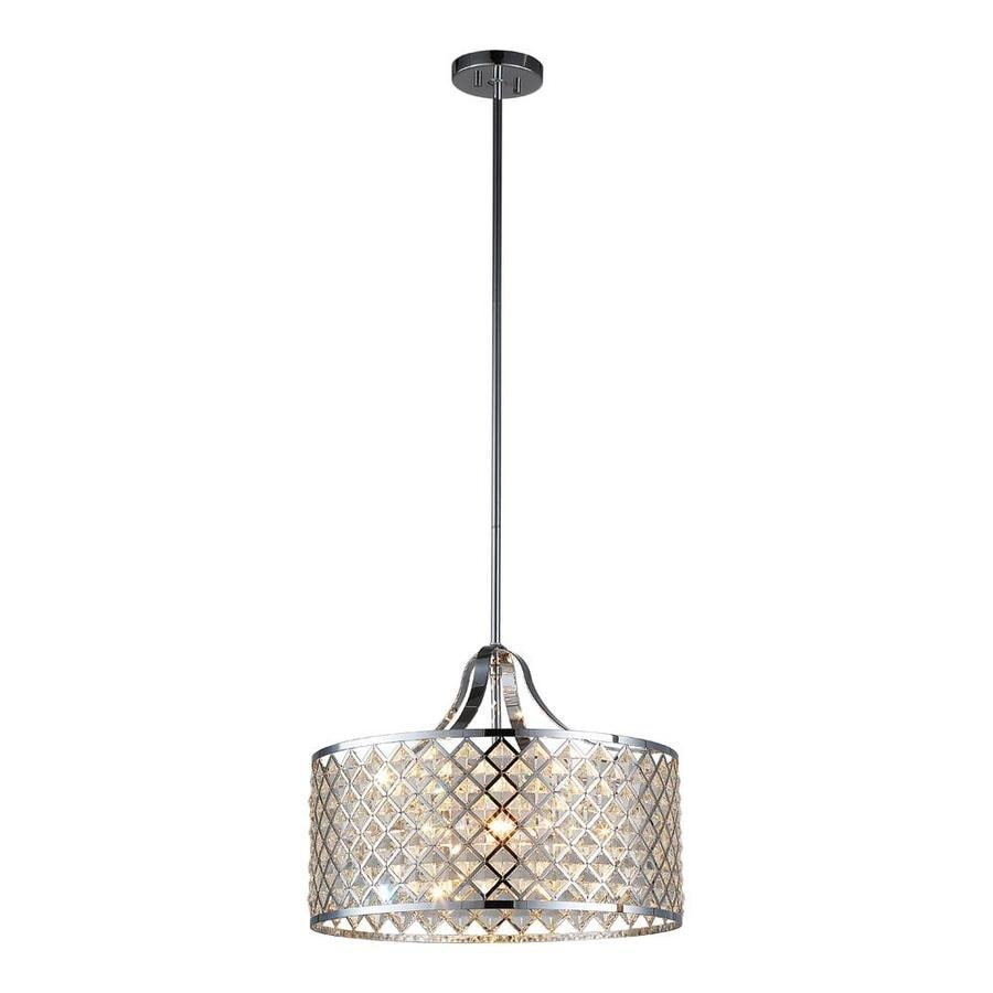 OVE Decors Baker 17.75-in Chrome Hardwired or Plug-in Multi-Light Cylinder Pendant