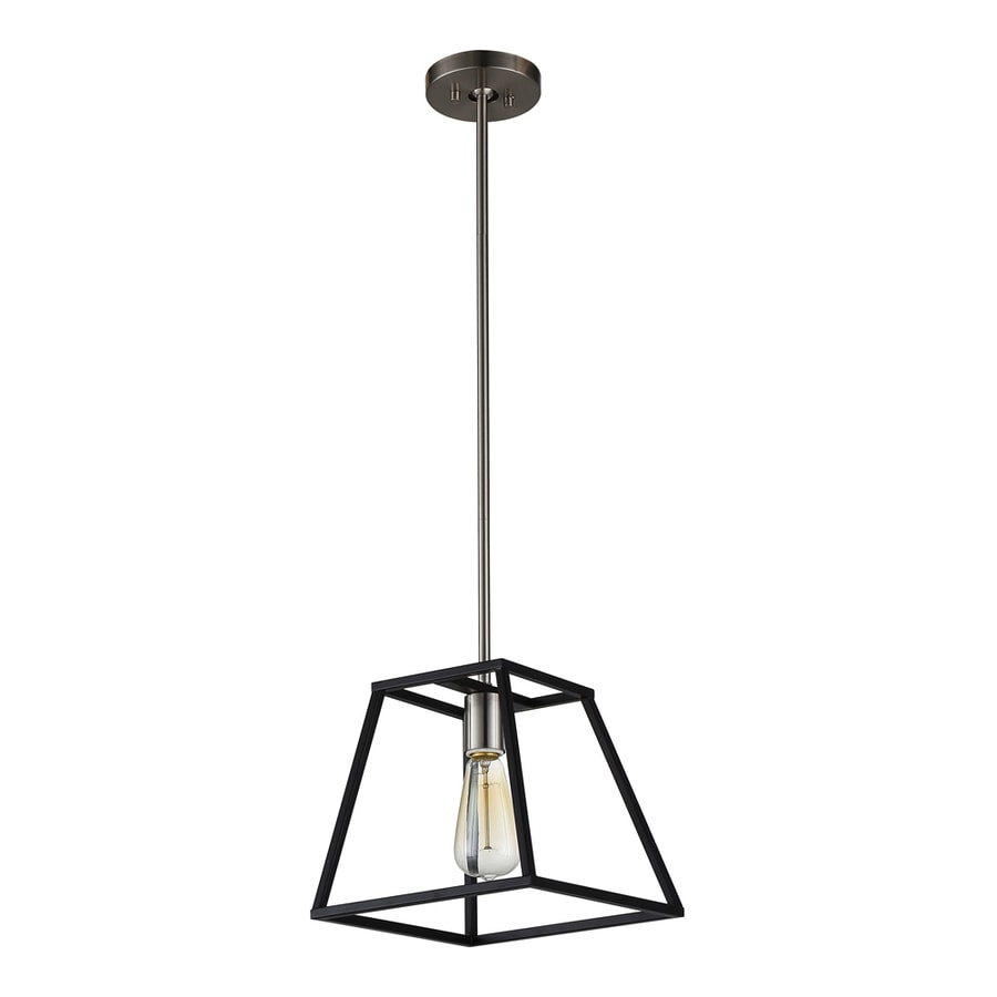 OVE Decors Agnes 10-in Black Single Square LED Pendant