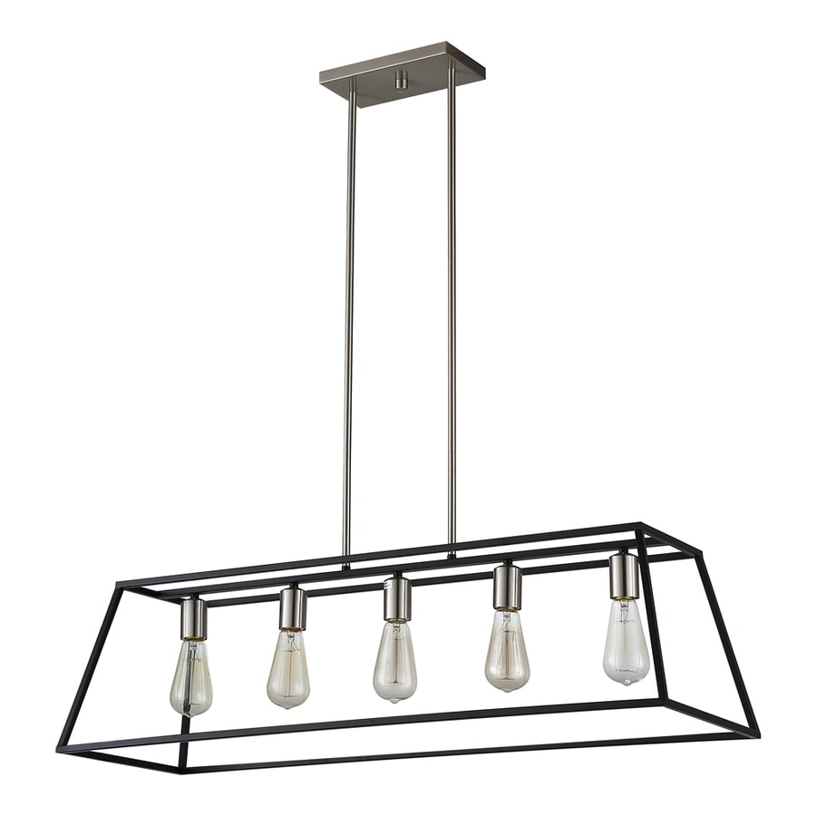 OVE Decors Agnes 38-in Black Hardwired or Plug-in Linear Rectangle Pendant