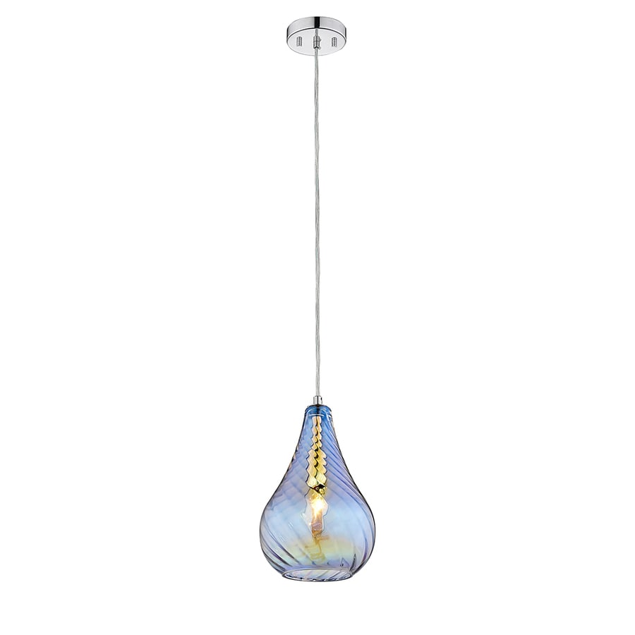 OVE Decors Bose 6.3-in Colorful Glass Hardwired or Plug-in Mini Cylinder Pendant