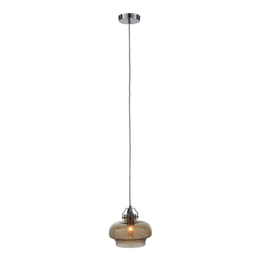 OVE Decors Newsome 9.5-in Cognac Glass Mini Cylinder Pendant