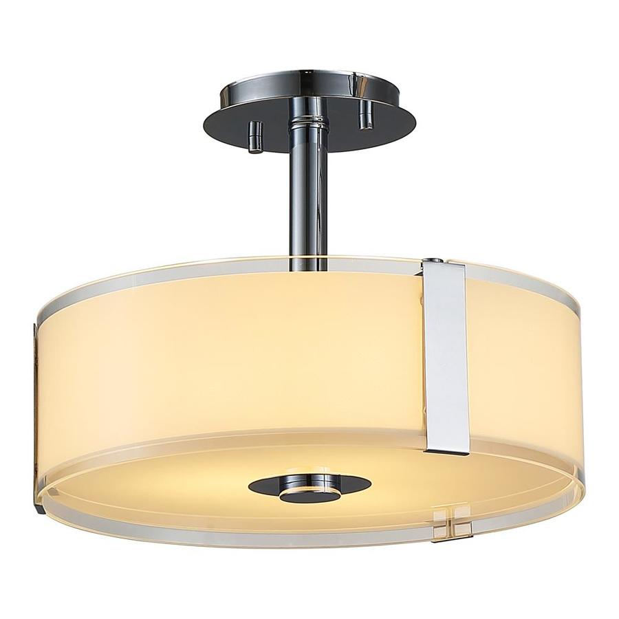 OVE Decors Bailey 14.0 In W Chrome Alabaster Glass LED Semi Flush Mount  Light