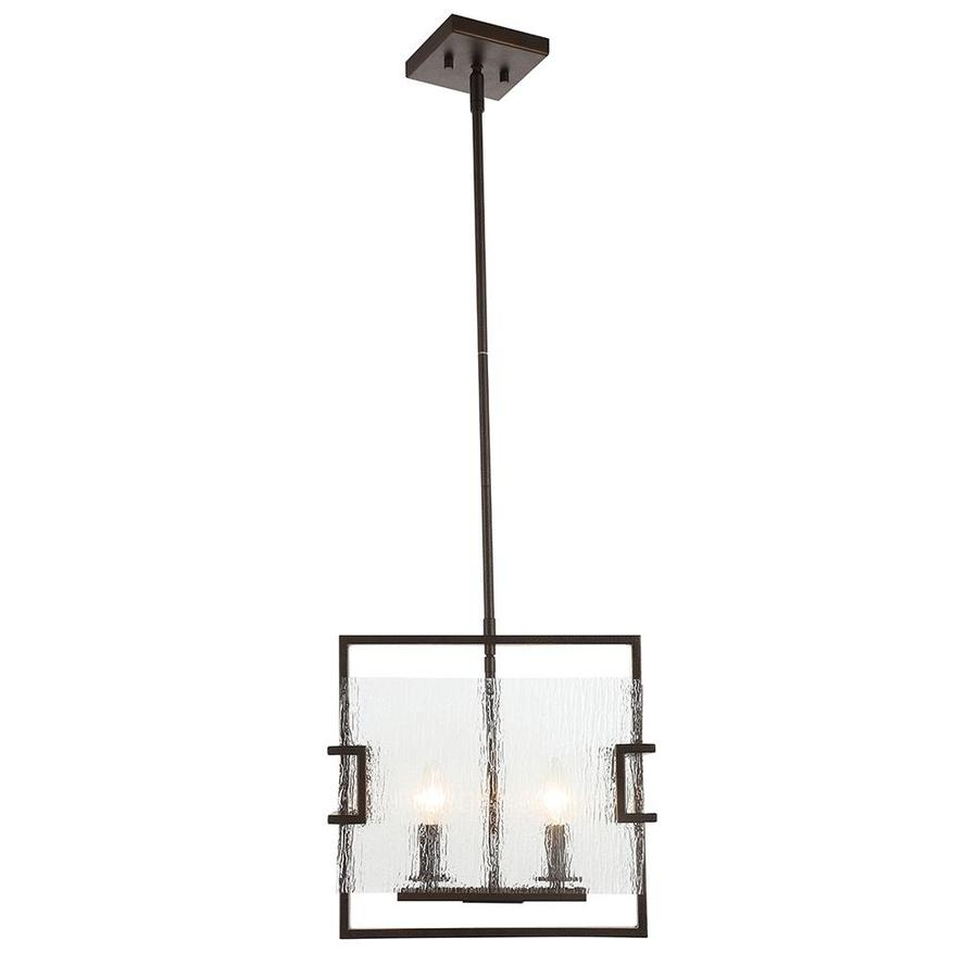 OVE Decors Anares 14-in Black Bronze Hardwired or Plug-in Linear Square Pendant