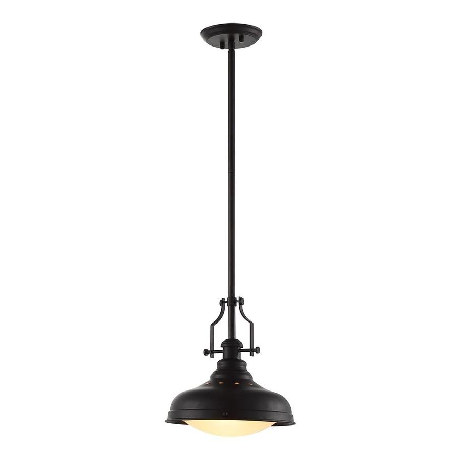 OVE Decors Bergin 12.2-in Oil-Rubbed Bronze Bell LED Pendant