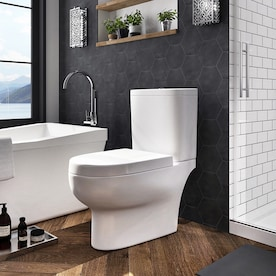 OVE Decors Beverly White WaterSense Labeled Dual Flush Elongated Chair Height 2-Piece Toilet 12-in Rough-In Size