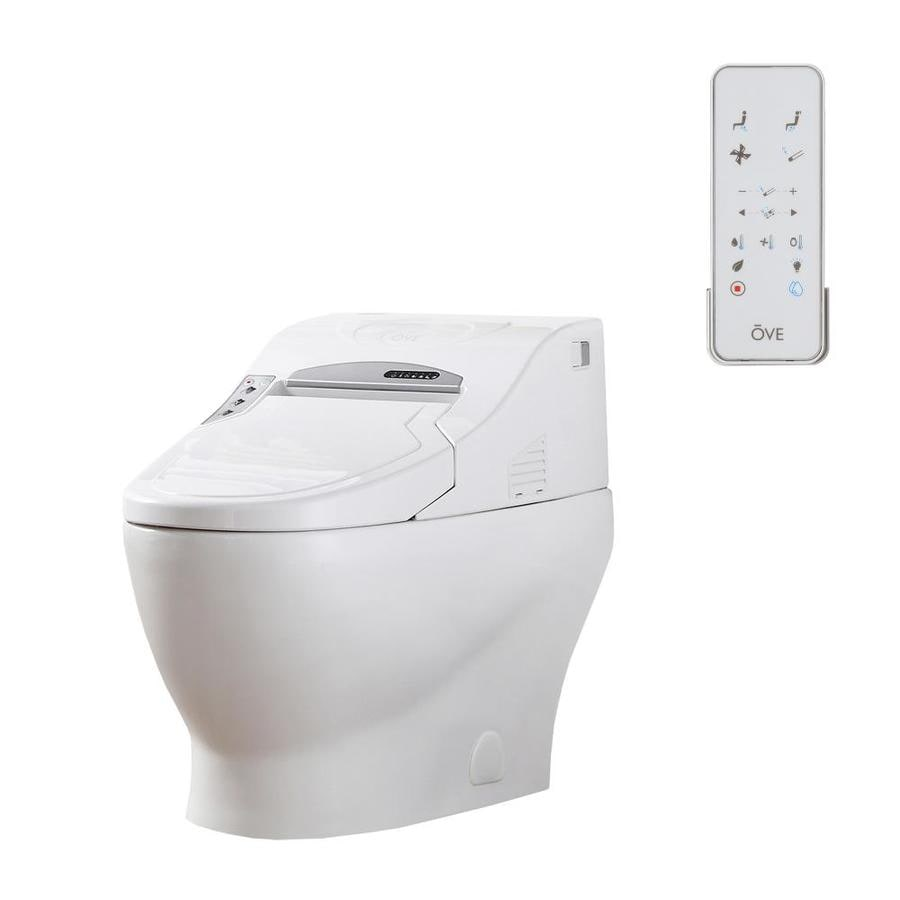OVE Decors Ebba White WaterSense Labeled  Elongated Standard Height Bidet Function 1-piece 12-in Rough-In Size