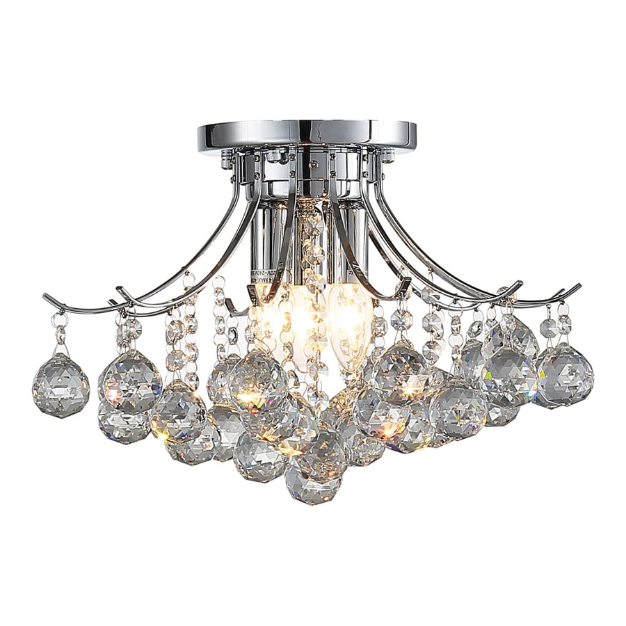 OVE Decors Warsaw 15.75-in 3-Light Chrome Hardwired Tiered Standard Chandelier
