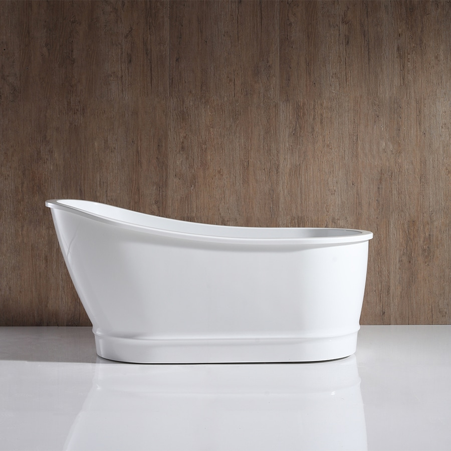 OVE Decors Carly 60.63 In White Acrylic Freestanding Bathtub With Back  Center Drain
