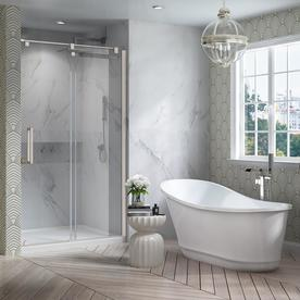 OVE Decors Carly 60.63 In White Acrylic Oval In Rectangle Back Center Drain Freestanding  Bathtub