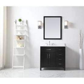 OVE Decors Tahoe Espresso Single Sink Vanity With White Natural Marble Top  (Common: 36