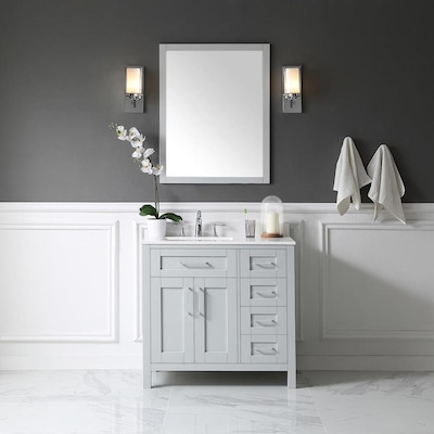 Fantastic Tahoe 36 In Dove Gray Single Sink 1 Mirror Bathroom Vanity With White Cultured Marble Top And Mirror Download Free Architecture Designs Scobabritishbridgeorg