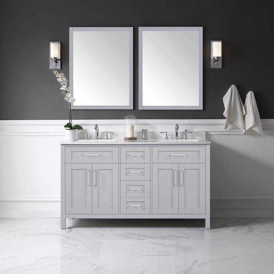 OVE Decors Tahoe Dove Grey 60-in Undermount Double Sink Birch Bathroom Vanity with Cultured Marble Top Mirror Included