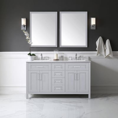 Tahoe 60 In Dove Gray Double Sink 2 Mirror Bathroom Vanity With White Cultured Marble Top