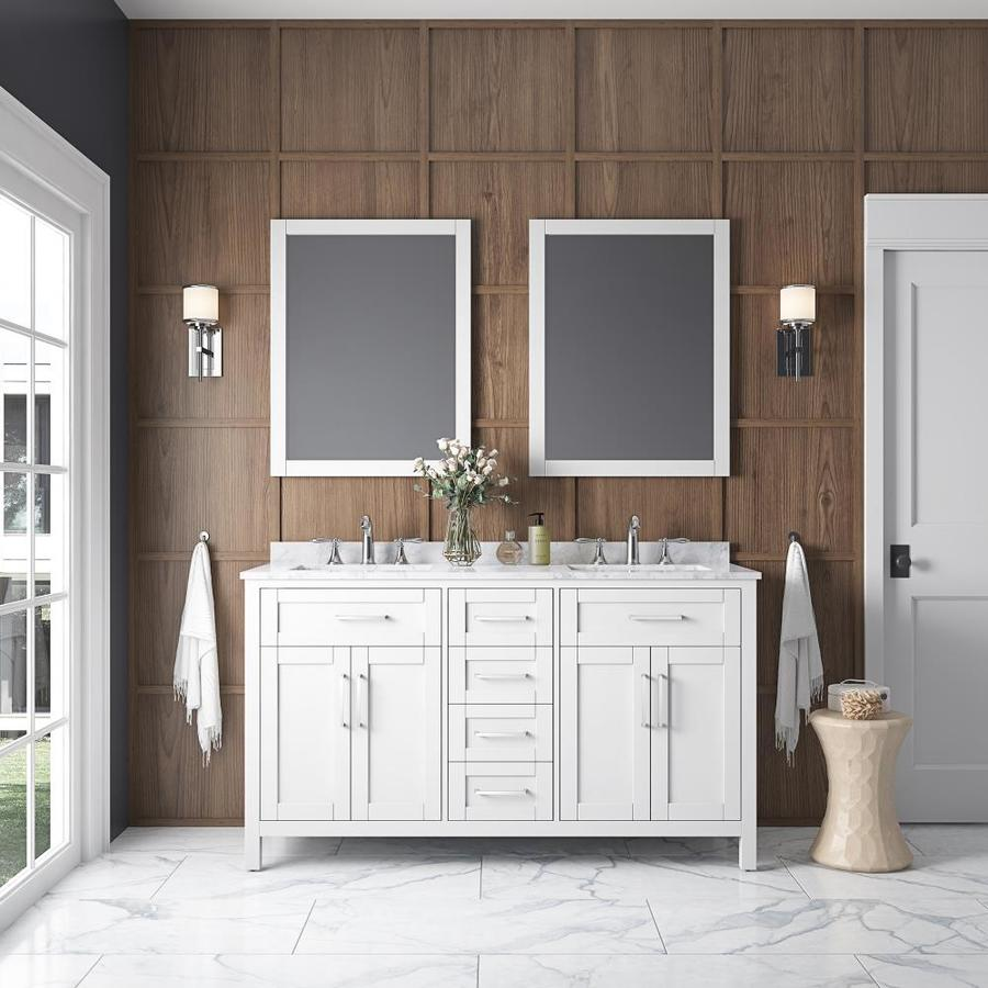 OVE Decors Tahoe White Undermount Double Sink Bathroom Vanity with Natural Marble Top (Common: 60-in x 21-in; Actual: 60-in x 21-in)