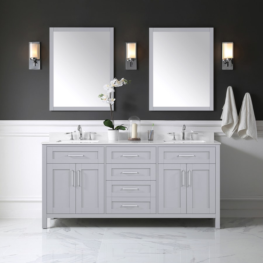 Ove Decors Tahoe 72 In Dove Gray Double Sink Bathroom Vanity With White Natural Marble Top And