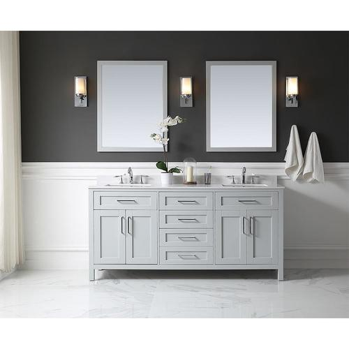 Ove Decors Tahoe 72 In Dove Gray Double Sink 2 Mirror