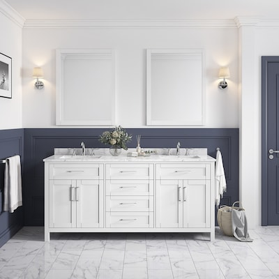 Phenomenal Ove Decors Tahoe 72 In White Double Sink Sink 2 Mirror Home Interior And Landscaping Synyenasavecom