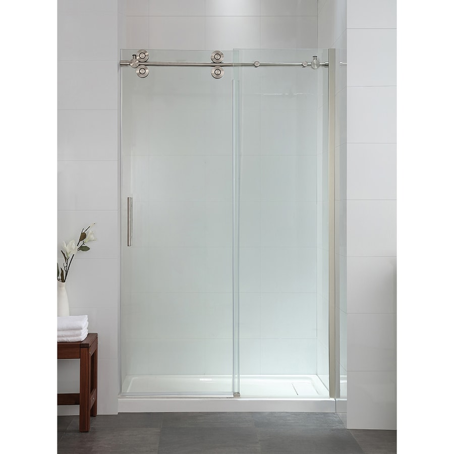 OVE Decors Sydney 44.0-in to 46.0-in Frameless Satin Nickel Sliding Shower Door