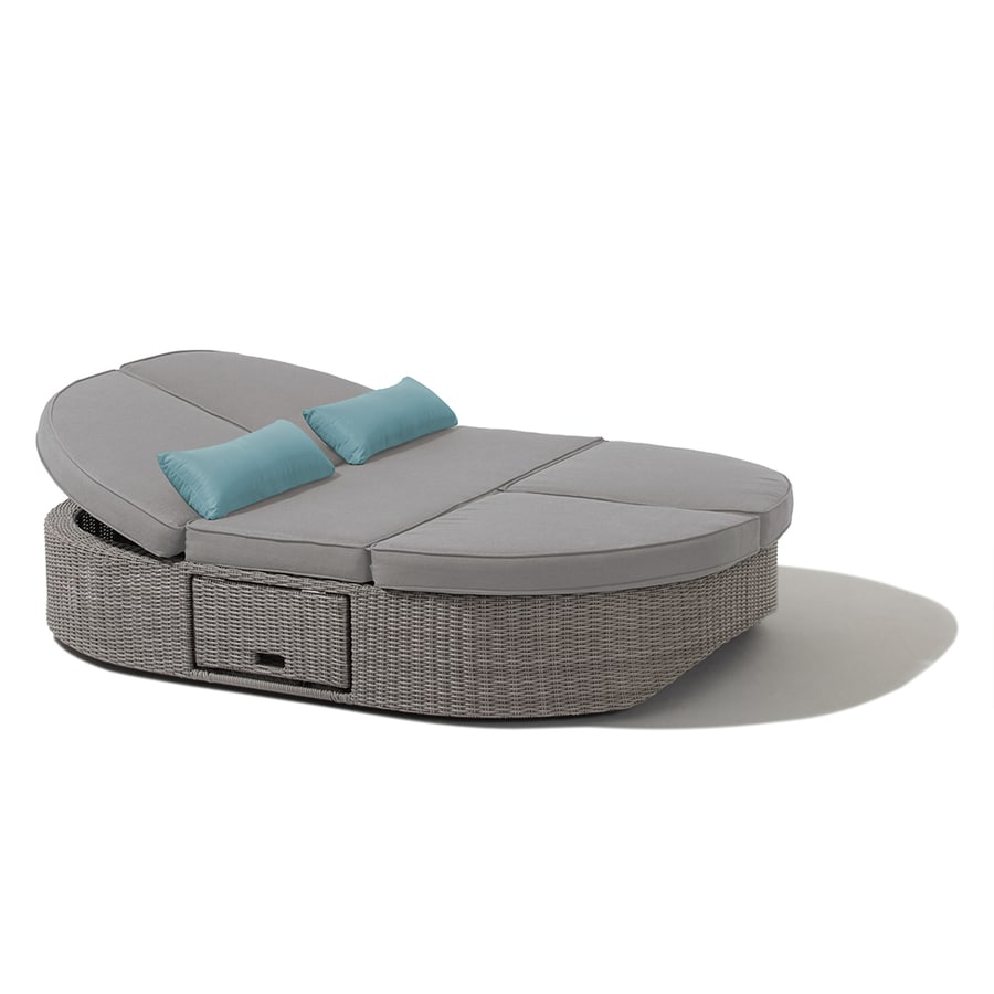 OVE Decors Sandra Solid Cushion Gray Aluminum Wicker Daybed