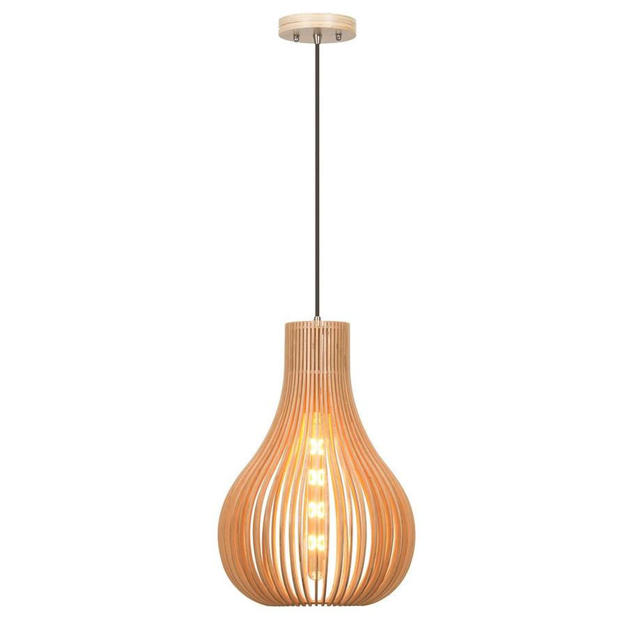 OVE Decors Mindo 12.2-in Natural Wood Craftsman Single Teardrop LED Pendant