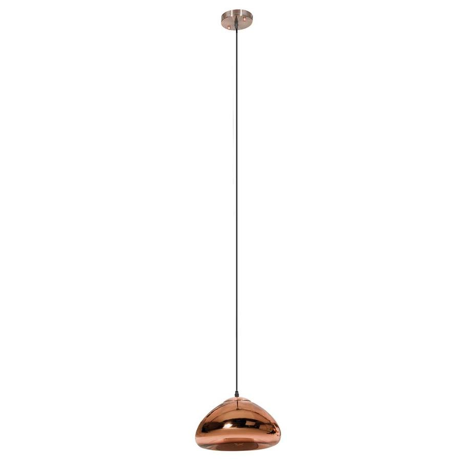 OVE Decors Bingham 11.4375-in High Gloss Copper Industrial Hardwired Single Dome Integrated LED Pendant