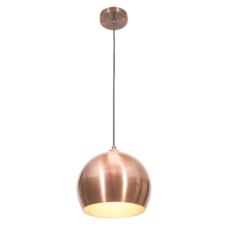 OVE Decors Cyprus 9.625-in Copper Satin Industrial Hardwired Single Globe Integrated LED Pendant