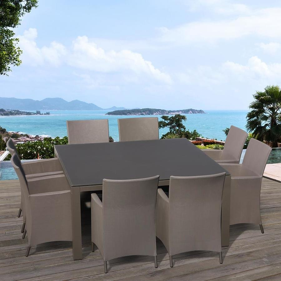 OVE Decors Calais 9-Piece Cappuccino Glass Dining Patio Dining Set