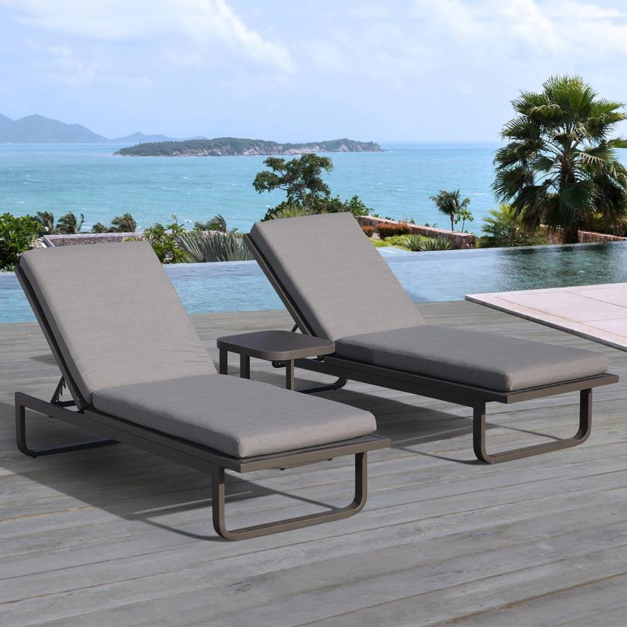 OVE Decors Vienna 2-Count Aluminum Patio Chaise Lounge Chair with Gray Olefin Cushion