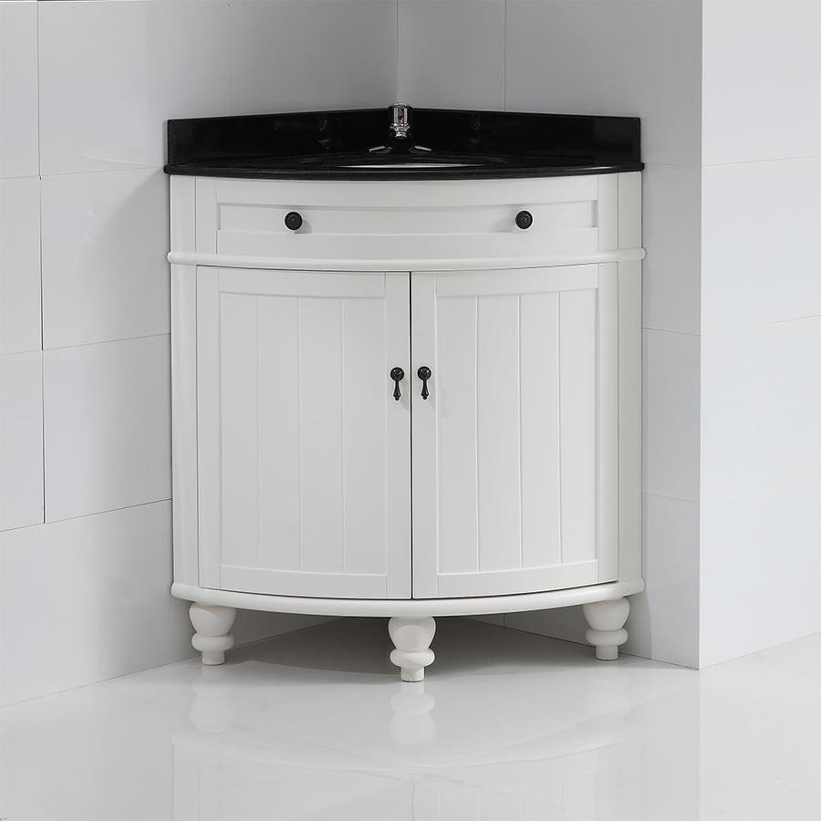 OVE Decors Esquina White Single Sink Vanity with Black Granite Top (Common: 34-