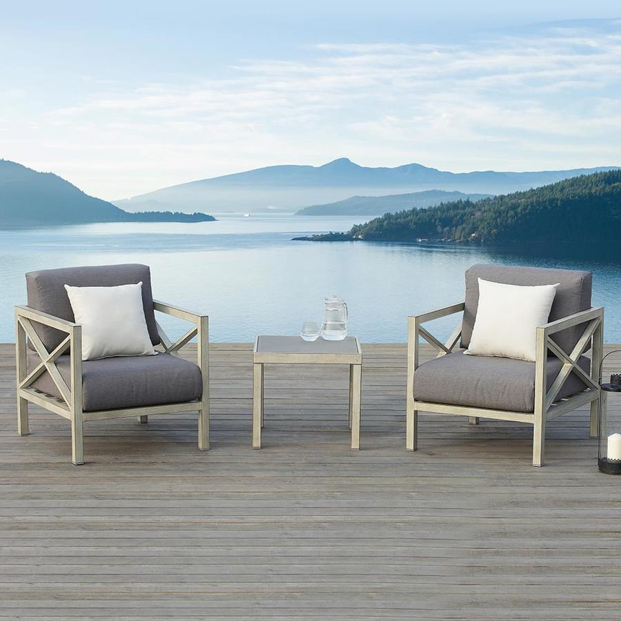 OVE Decors Pasadena 2-Count Distressed gray Aluminum Patio Balcony Chair with Gray Olefin Cushion