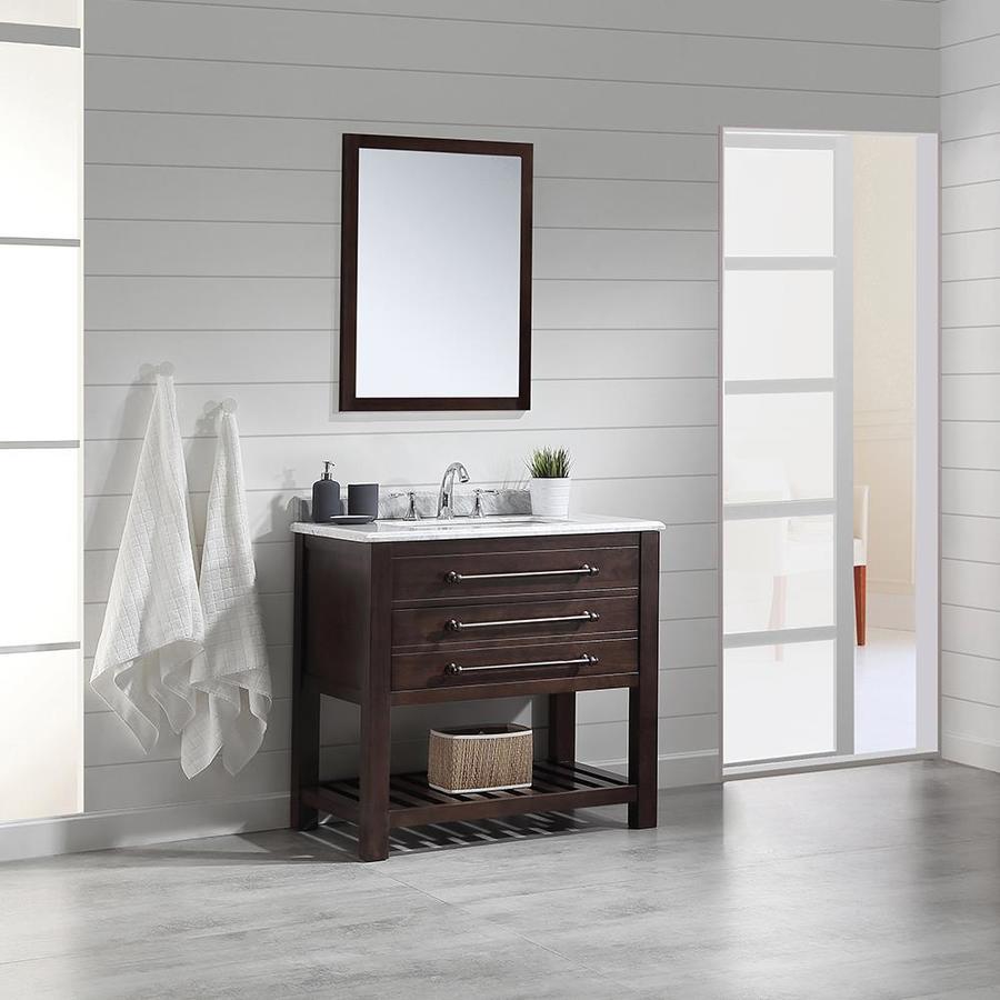 Ove Decors Harry Java Brown Single Sink Vanity With Carrara Natural